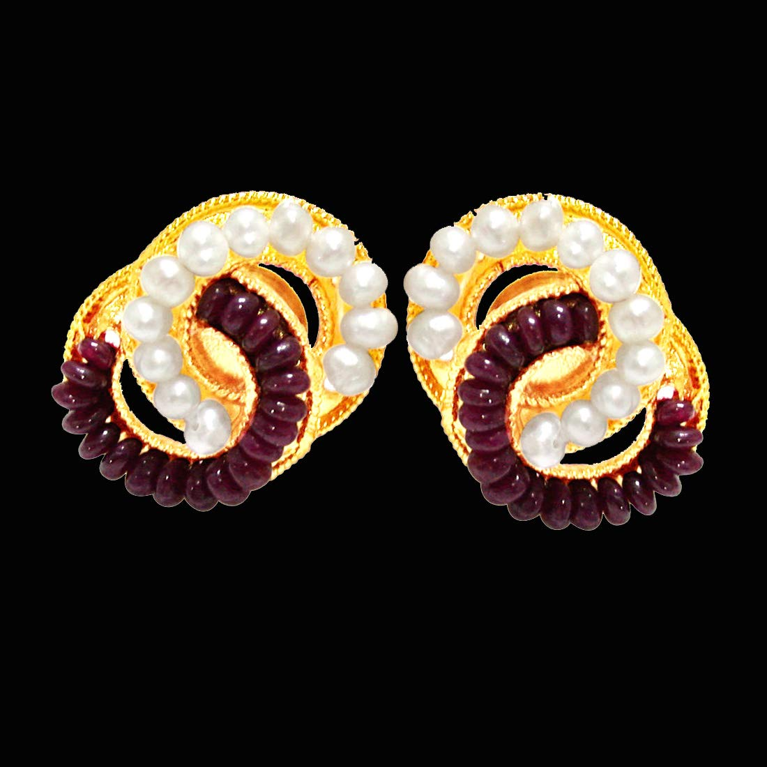 Luminous Surprise - Real Ruby Beads, Freshwater Pearls & Gold Plated Interlocked Earrings for Women (SE76)
