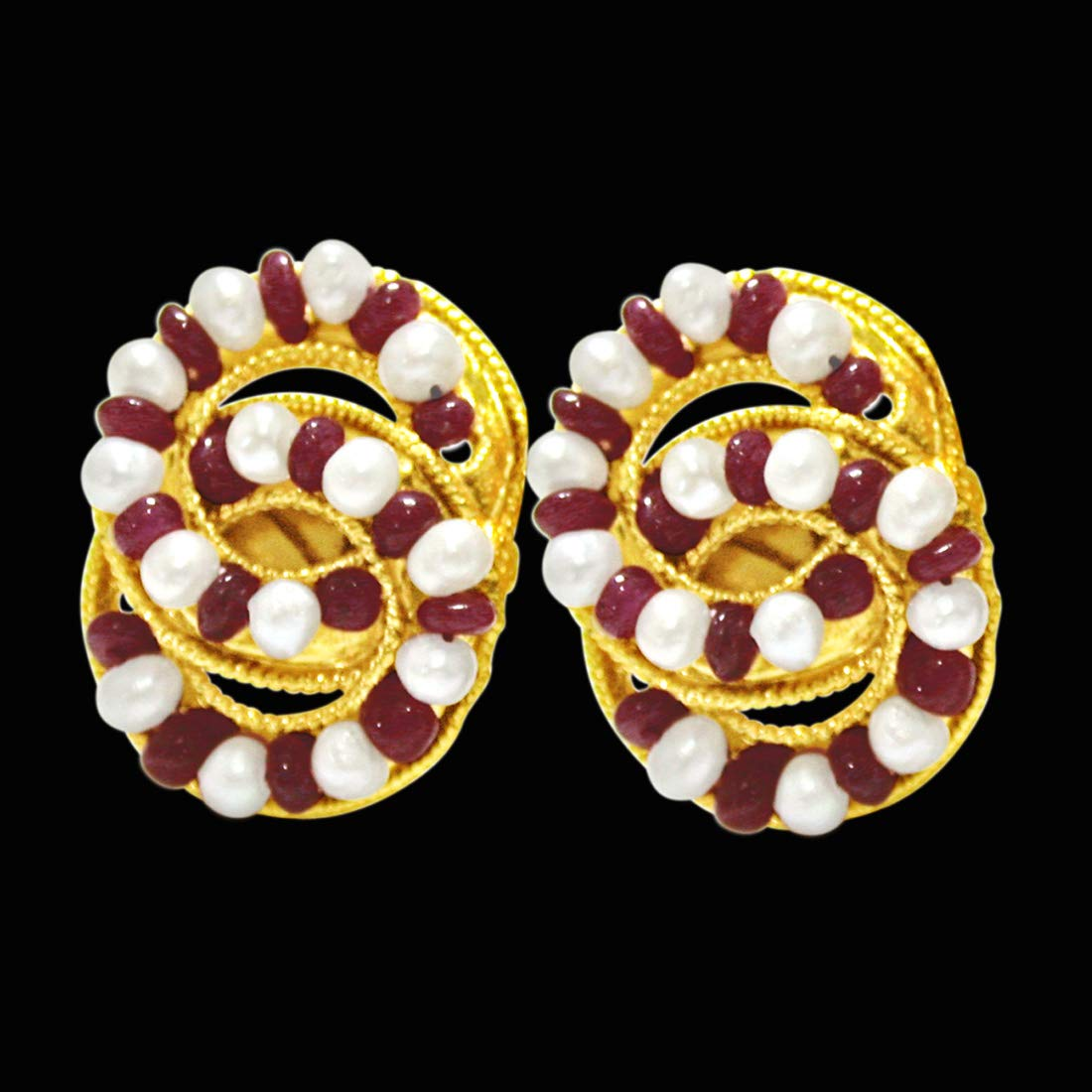 Stylish Sensation - Real Red Ruby Beads, Freshwater Pearls & Gold Plated Earrings for Women (SE77)