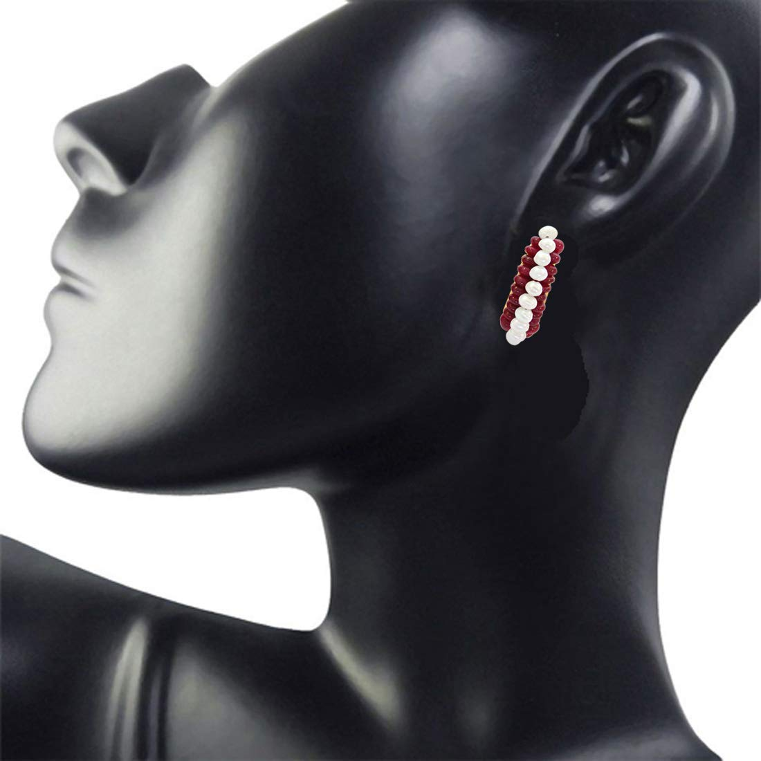 We are Forever - Real Ruby Beads & Freshwater Pearl Bali Style Earrings for Women (SE79)