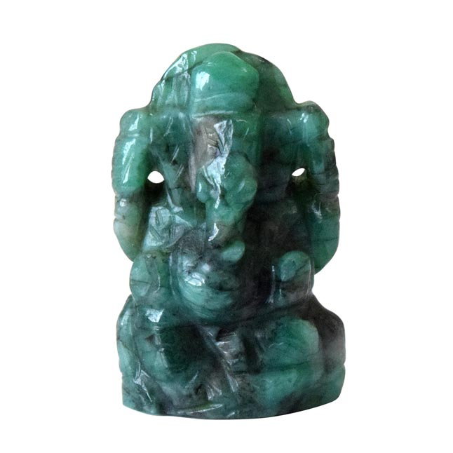 37 cts Lord Ganesh God Ganpati Ganesha Real Natural Emerald Idol Murti (SGP21)