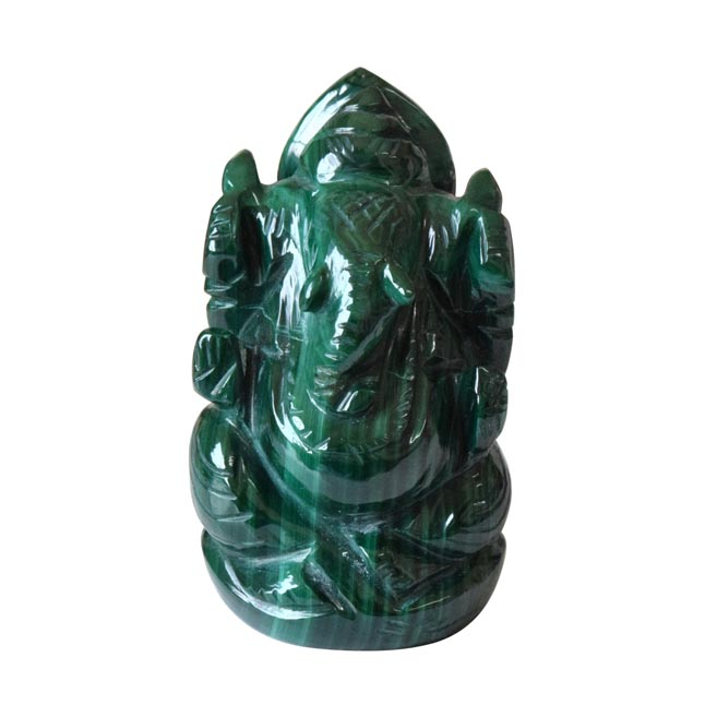 565 cts Lord Ganesh God Ganpati Ganesha Real Natural Malachite Idol Murti (SGP23)