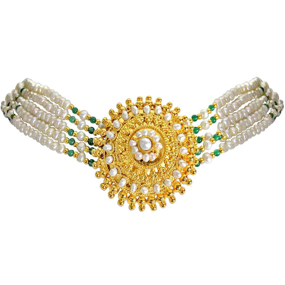 Joyance - Round Gold Plated Pendant, Real Freshwater Pearl & Green Onyx Beads Necklace for Women (SN10)
