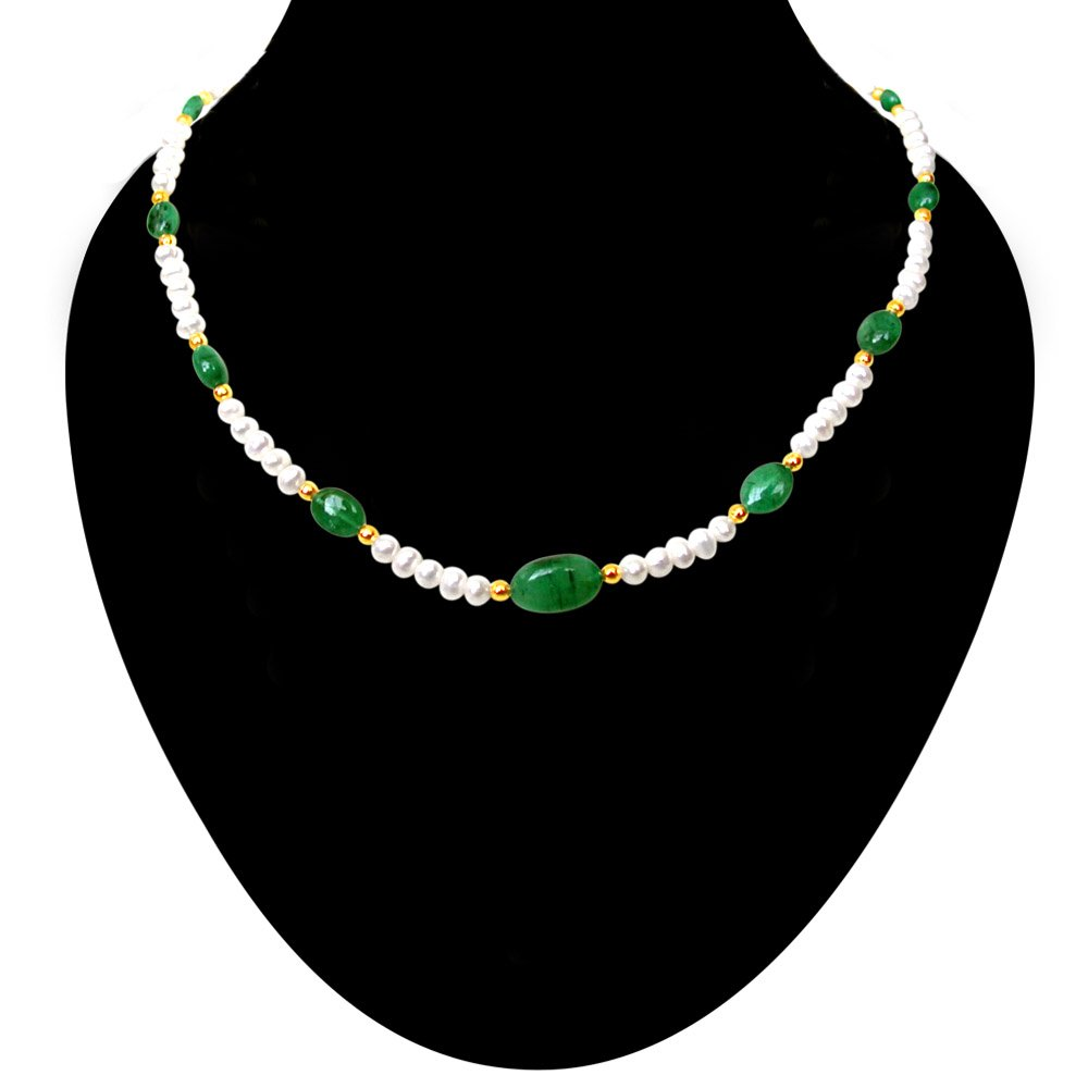 Beauteous - Real Green Oval Emerald & Freshwater Pearl Necklace for Women (SN119)