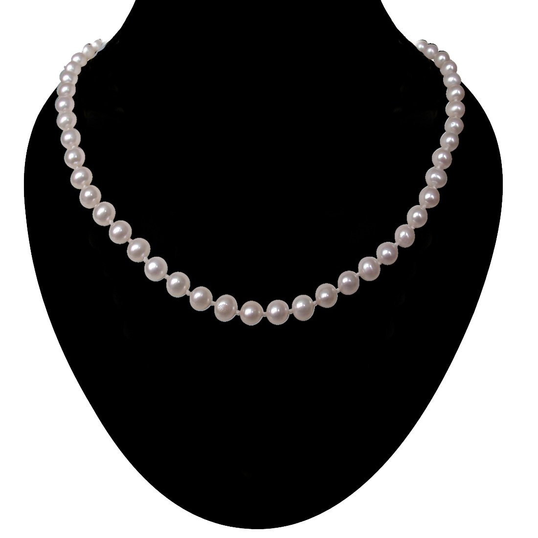 Luxuriate - Single Line Round Real Freshwater Pearl Necklace with Knots for Women (SN11)