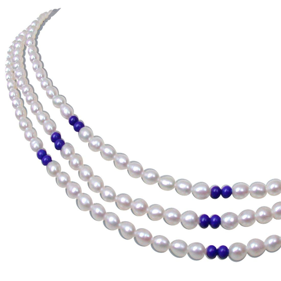 Blue Lapiz Love - 2 Line Real Rice Pearl & Blue Lapiz Beads Necklace for Women (SN121)