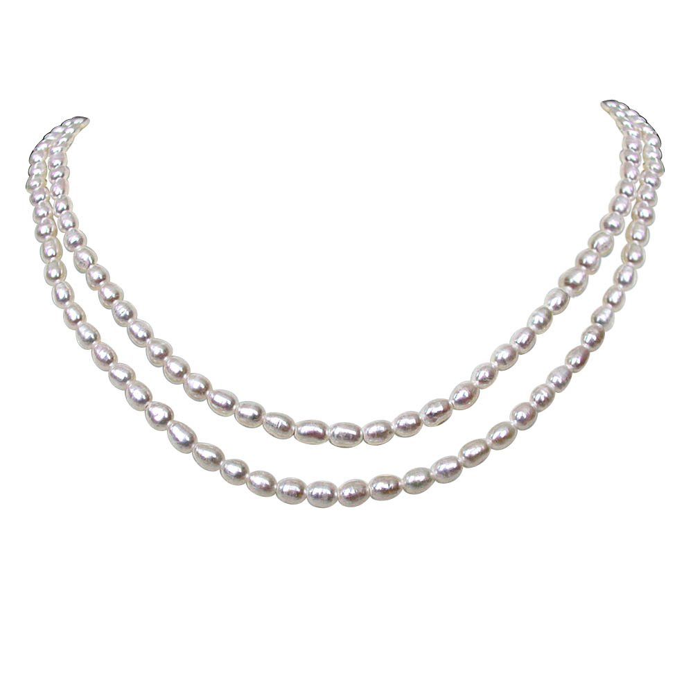 Love Line - 2 Line Real Rice Pearl Necklace for Women (SN122)