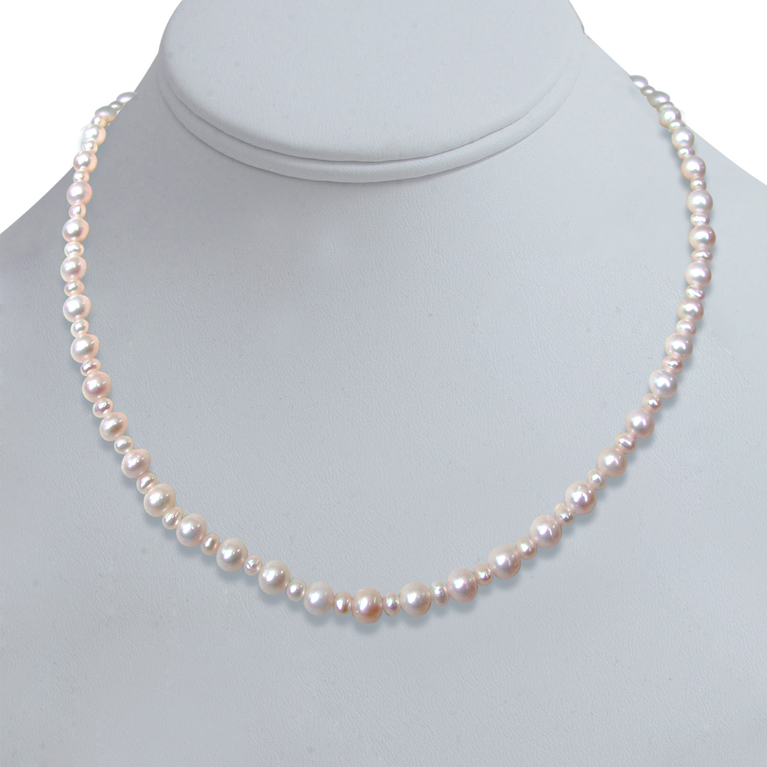 Round Radiance - Single Line Big & Small Real Freshwater Pearl Necklace for Women (SN124)