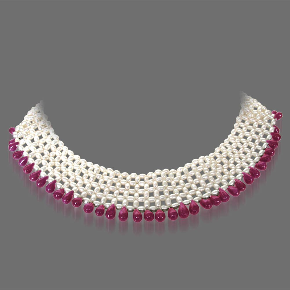 Pretty Woman's Splendor - Real Drop Ruby & Rice Pearl Knitted Choker Style Necklace for Women (SN125)