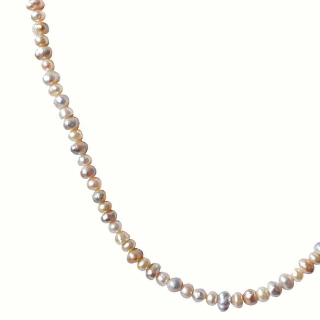 Peach and Purple Real Natural Freshwater Pearl Necklace for Women (SN127)