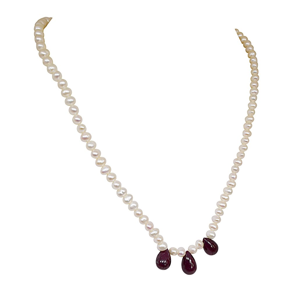 Mesmerizing Ruby - 3 Real Drop Ruby & Freshwater Pearl Necklace for Women (SN128)