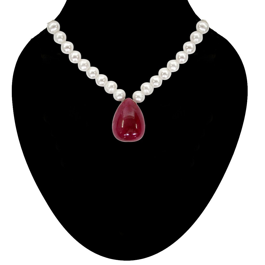 10.50 cts Real Drop Ruby and Freshwater Pearl Necklace for Women (SN129-10.5cts)