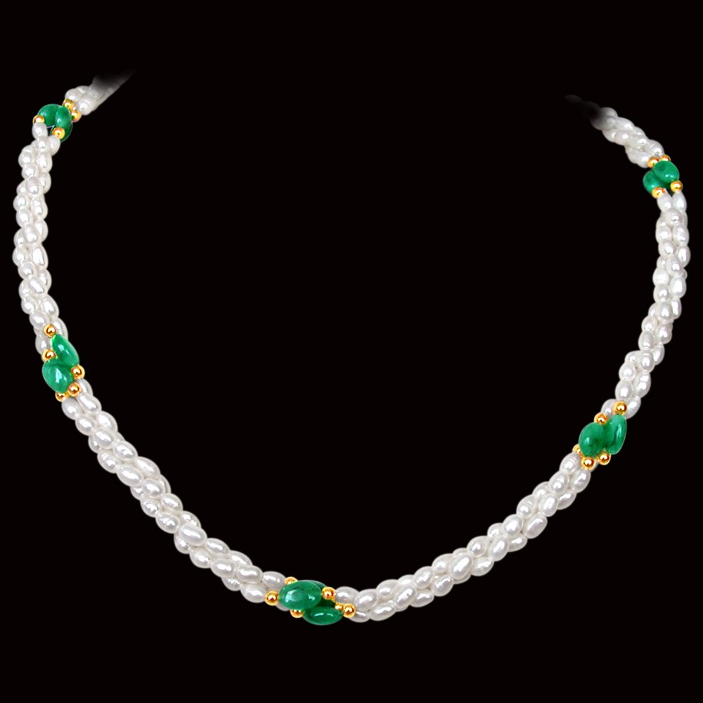 Finery Jewel - Twisted 3 Line Real Oval Green Emerald & Rice Pearl Necklace for Women (SN130)