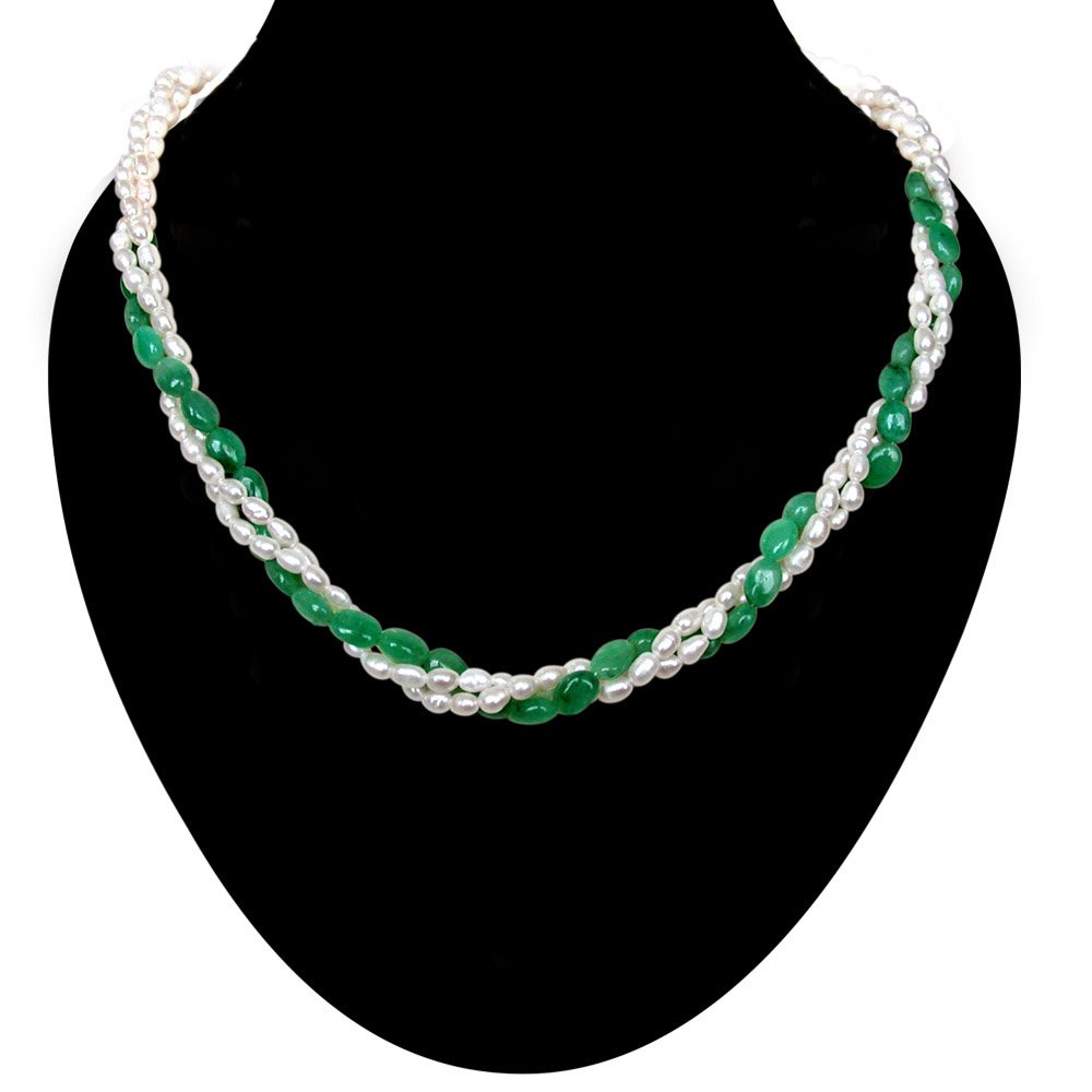 Classic Creation - 3 Line Twisted Real Oval Green Emerald & Rice Pearl Necklace for Women (SN131)