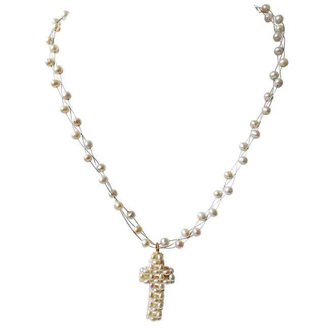 Knitted Pearl Cross Pendant and 3 Line Freshwater Pearl Necklace (SN132)