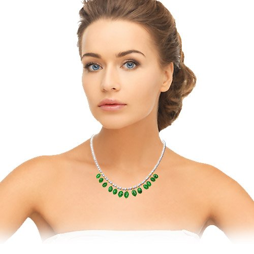 Vivacious Splendor - Single Line Real Oval Emerald & Freshwater Pearl Necklace for Women (SN138)
