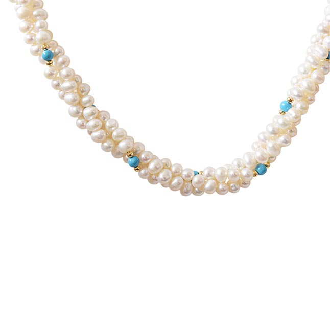 Classic - 3 Line Twisted Real Pearl, Blue Turquoise & Gold Plated Beads Necklace for Women (SN13)