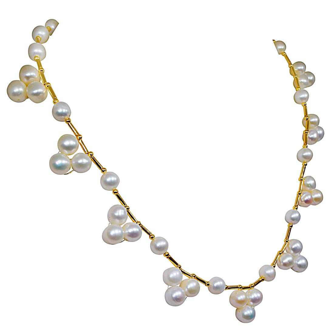 Angelic Beauty - Single Line Flower Design Real Freshwater Pearl Necklace for Women (SN143)