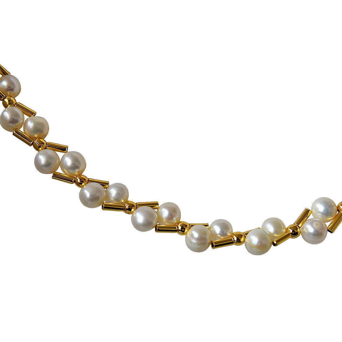 Pearl Elite Elegance - Real Freshwater Pearl & Gold Plated Pipe Necklace for Women (SN144)