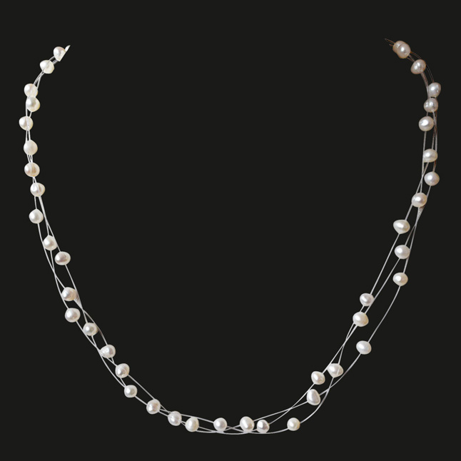 Trendy 3 Line Real Freshwater Pearl Wire Style Necklace