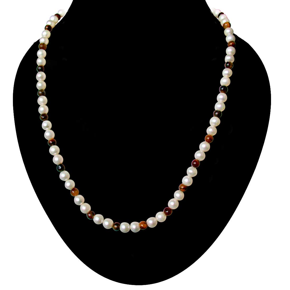 Dandy - Single Line Real Freshwater Pearl & Tiger Eye Beads Necklace for Women (SN14)