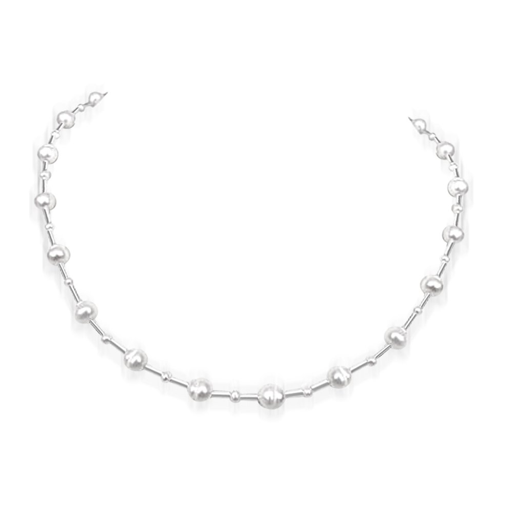 Opalescence Invisible Strings - Big & Small Freshwater Pearl & Silver Plated Pipe Necklace for Women (SN161)