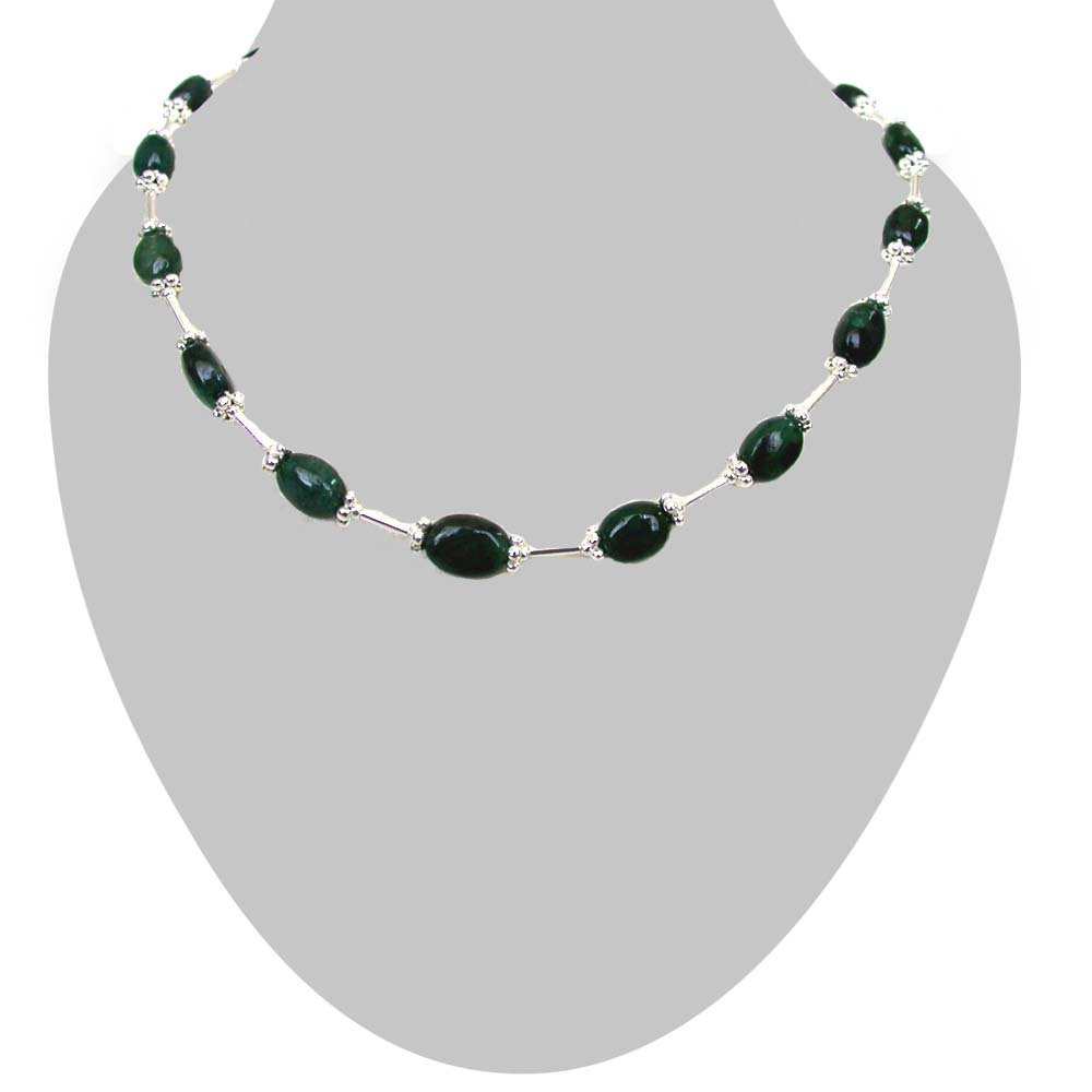 Burnished Beauty - Real Oval Emerald & Silver Plated Pipe Necklace for Women (SN172)