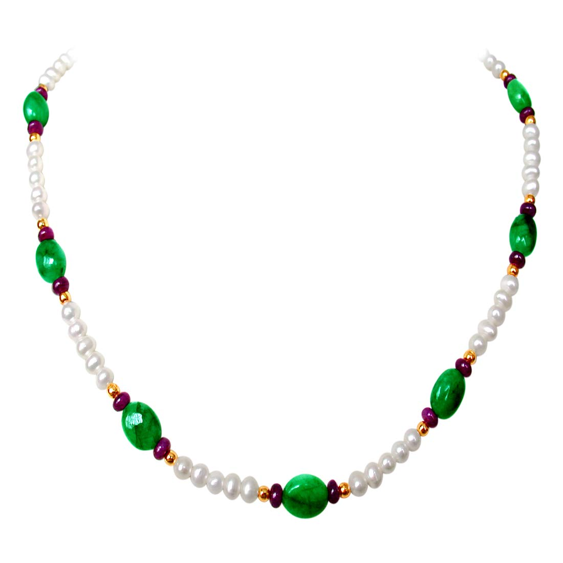 Green Sheen - Single Line Real Oval Emerald, Ruby Beads & Freshwater Pearl Necklace for Women (SN175)