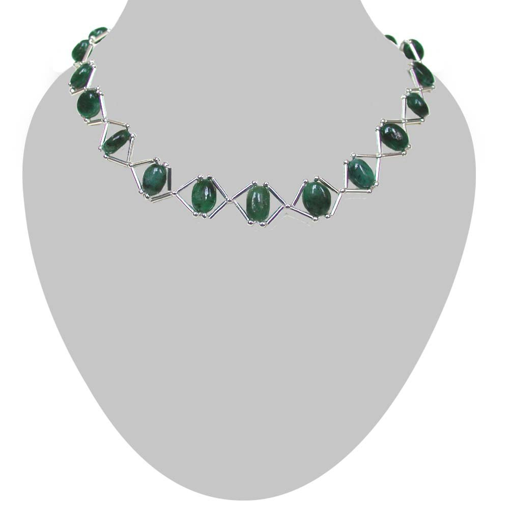 Emerald Grace - Real Oval Emerald & Silver Plated Pipe Necklace for Women (SN182)