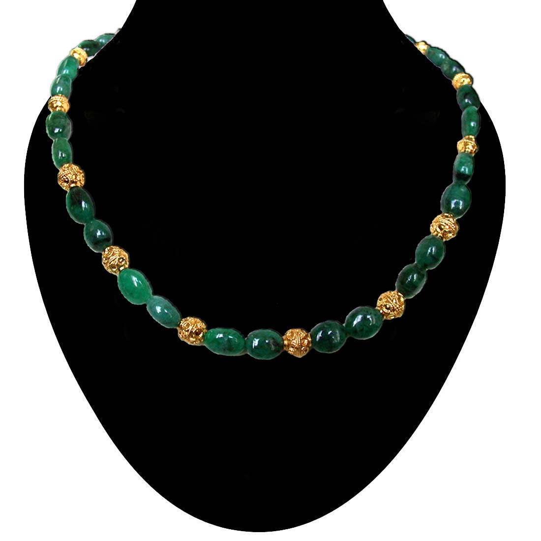 Novel Splendor - Single Line Real Green Oval Emerald & Gold Plated Ball Cocktail Necklace for Women (SN185)