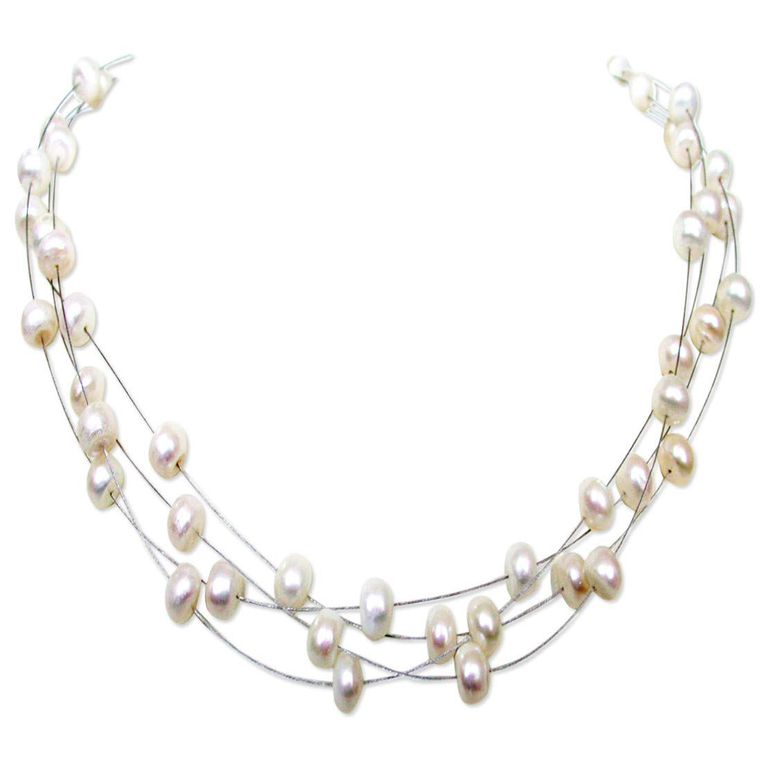 Indulge - 4 Line Real Freshwater Pearl Wire Style Necklace for Women (SN186)