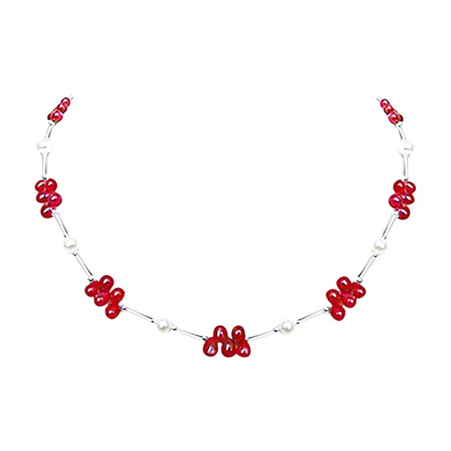 Dazzling Drops - Real Drop Ruby, Freshwater Pearl & Silver Plated Pipe Necklace for Women (SN188)