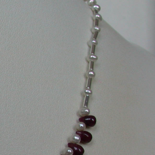 Round Pearl & Drop Ruby Necklace -Ruby+Pearl