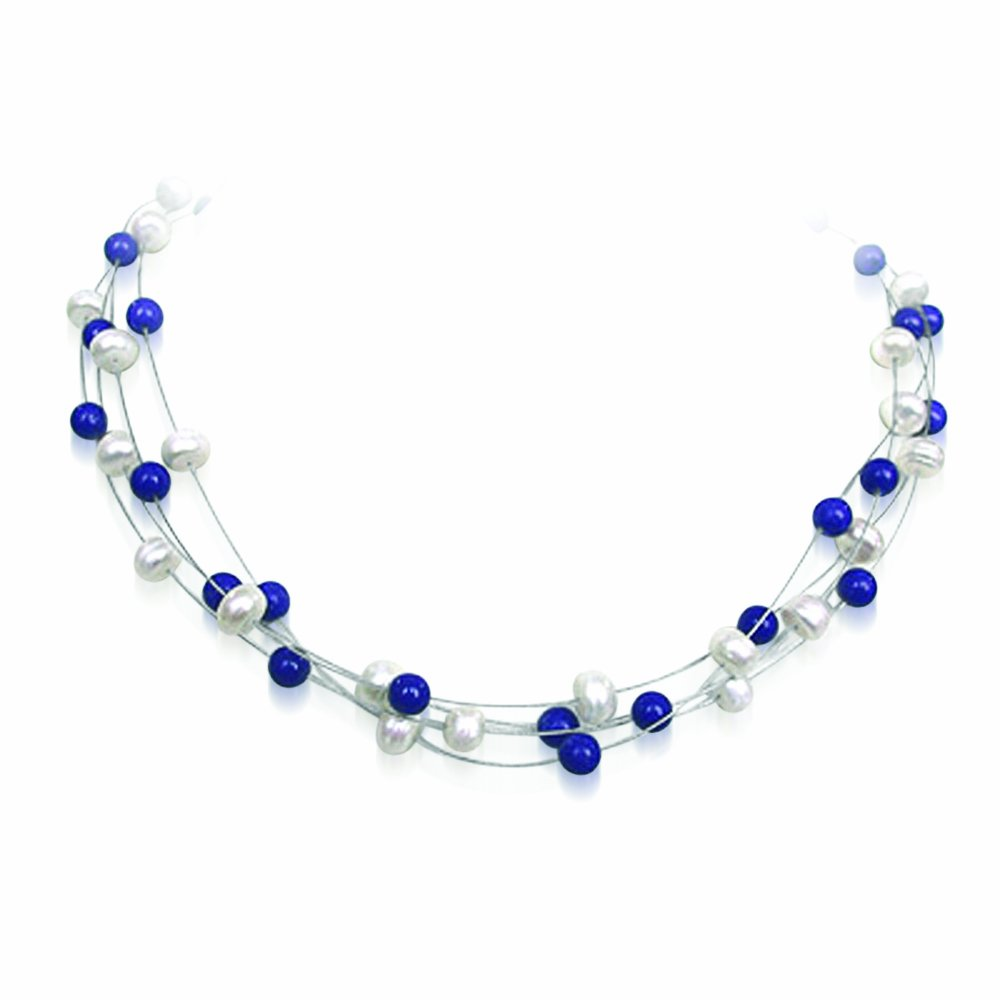Delight - 4 Line Freshwater Pearl & Blue Lapiz beads Wire Style Necklace for Women (SN194)