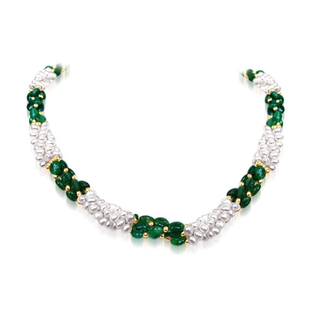 Sweet Emerald Embrace - Twisted Real Emerald & Freshwater Pearl Necklace for Women (SN196)