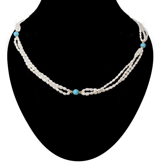 3 Line Twisted Real Pearl & Blue Turquoise Beads Necklace for Women (SN199)