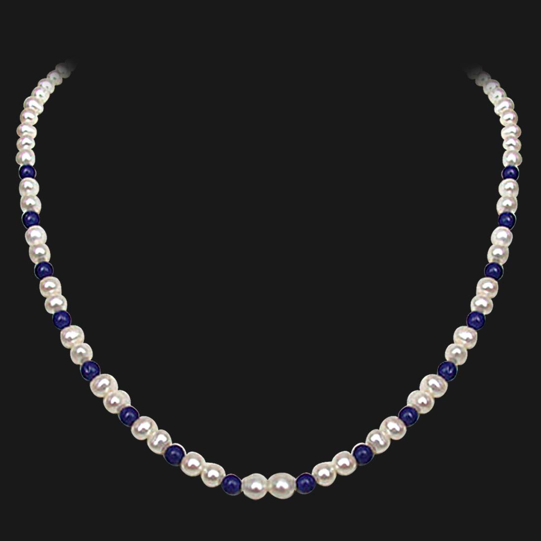 Regalia - Single Line Real Freshwater Pearl & Blue Lapiz Beads Necklace for Women (SN19)