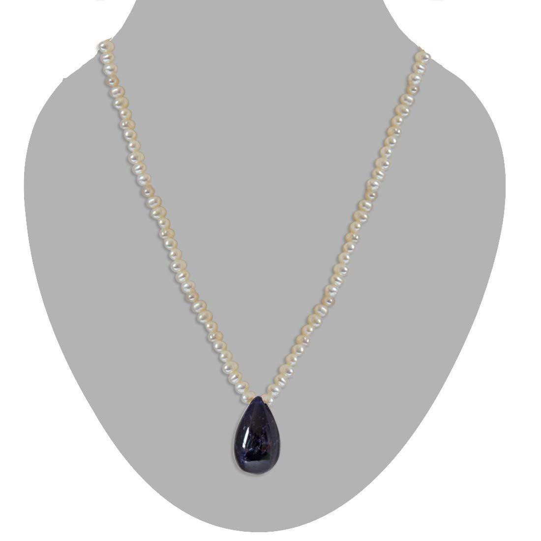 Sapphire Splendor Siren - Real Drop Blue Sapphire & Freshwater Pearl Necklace for Women (SN200)