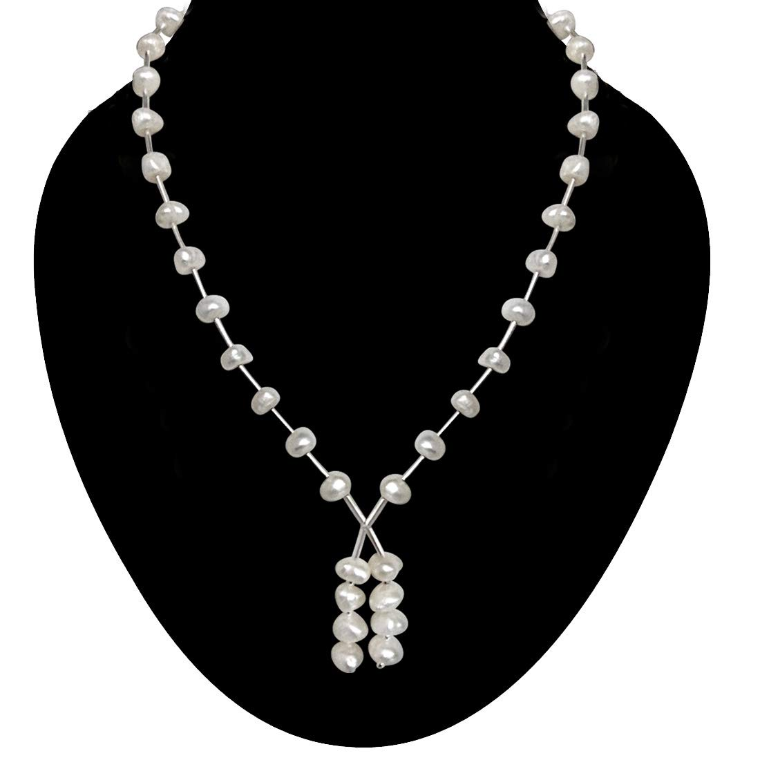 Scintillant - Single Line Freshwater Pearl & Silver Plated Pipe Necklace for Women (SN204)