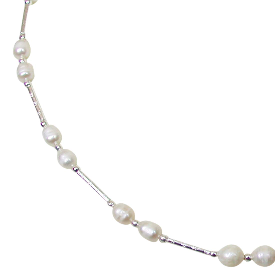 Flambeau - Single Line Real Freshwater Pearl & Silver Plated Pipe Necklace for Women SN206