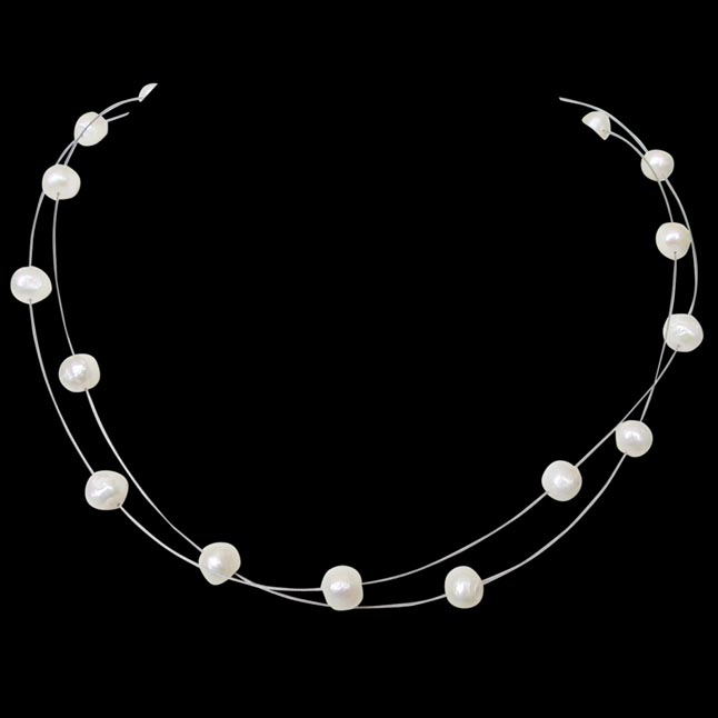 Illumine - 2 Line Real Freshwater Pearl Wire Style Necklace for Women (SN208)
