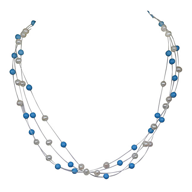 Immortal Elegance - Real 4 Line Real Freshwater Pearl & Turquoise Beads wire Necklace for Women (SN211)