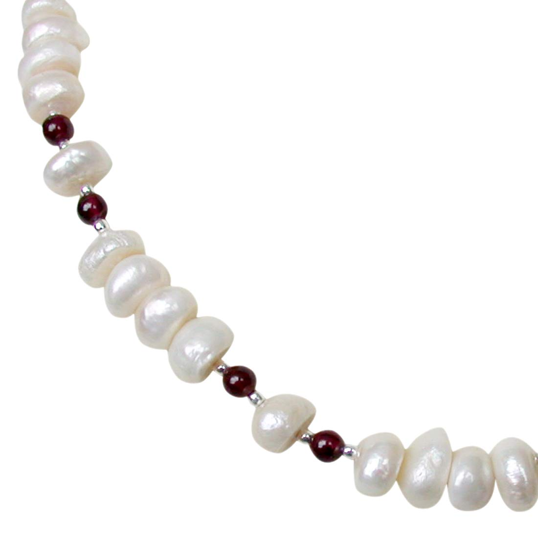 Bounty - Single Line Real Freshwater Pearl, Red Garnet & Silver Plated Beads Necklace for Women (SN215)