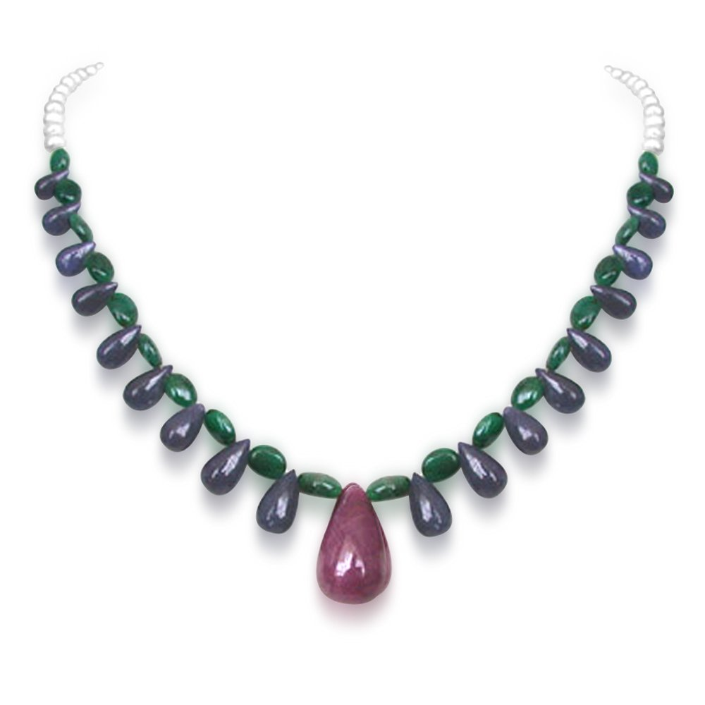 Svelte Splendor - Single Line Real Drop Ruby, Drop Sapphire, Oval Emerald & Freshwater Pearl Necklace for Women (SN217)