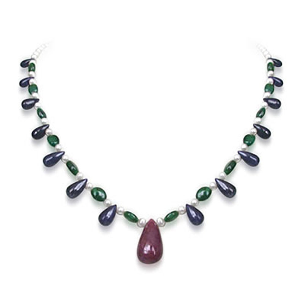 Blissful Beauty - Single Line Real Big Drop Ruby, Drop Sapphire, Oval Emerald & Freshwater Pearl Necklace for Women (SN219)