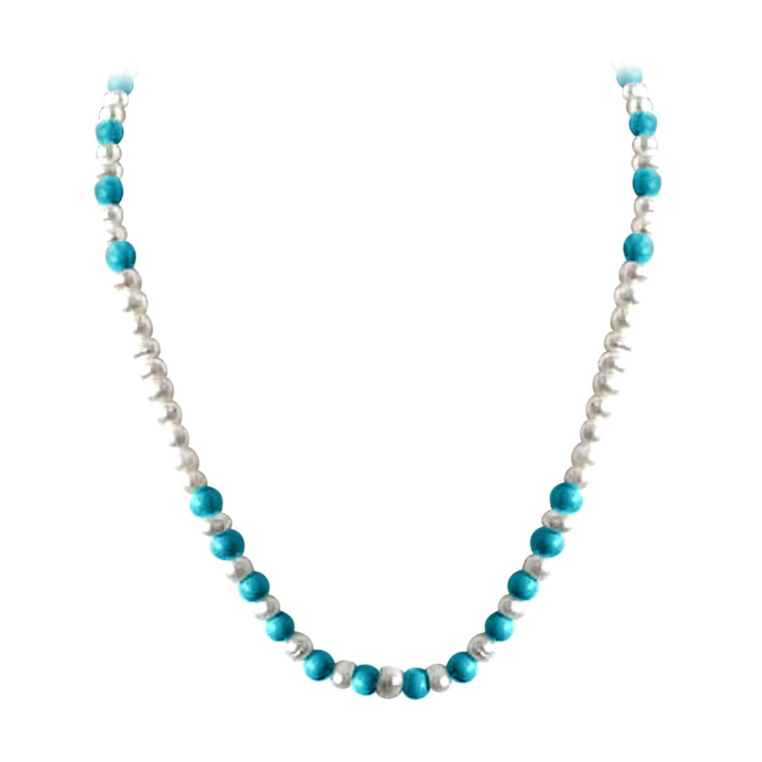 Beautiful Intoxication - Single Line Real Freshwater Pearl & Turquoise Beads Necklace for Women (SN22)