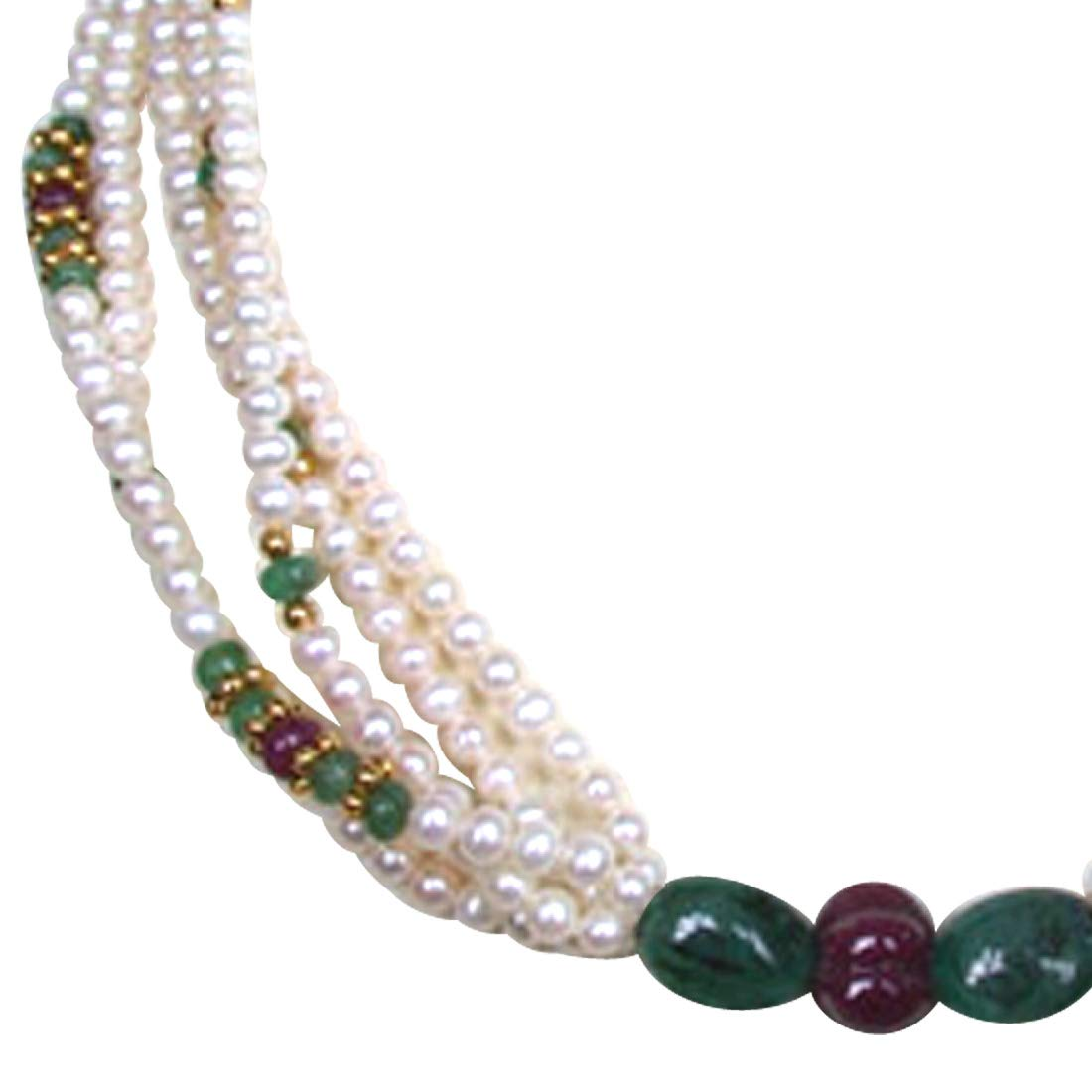 Pure Pristine Pleasure - Real Ruby, Emerald & Freshwater Pearl 5 Line Necklace for Women (SN220)