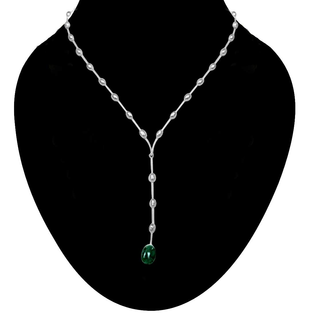 Untouched Beauty - Real Rice Pearl & Oval Emerald Wire Style Necklace for Women (SN222)