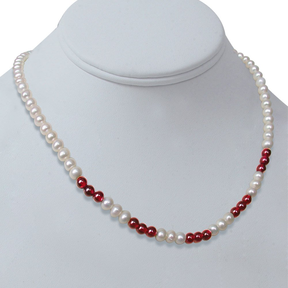 Charisma - Single Line Real Freshwater Pearl & Red Garnet Beads Necklace for Women (SN236)