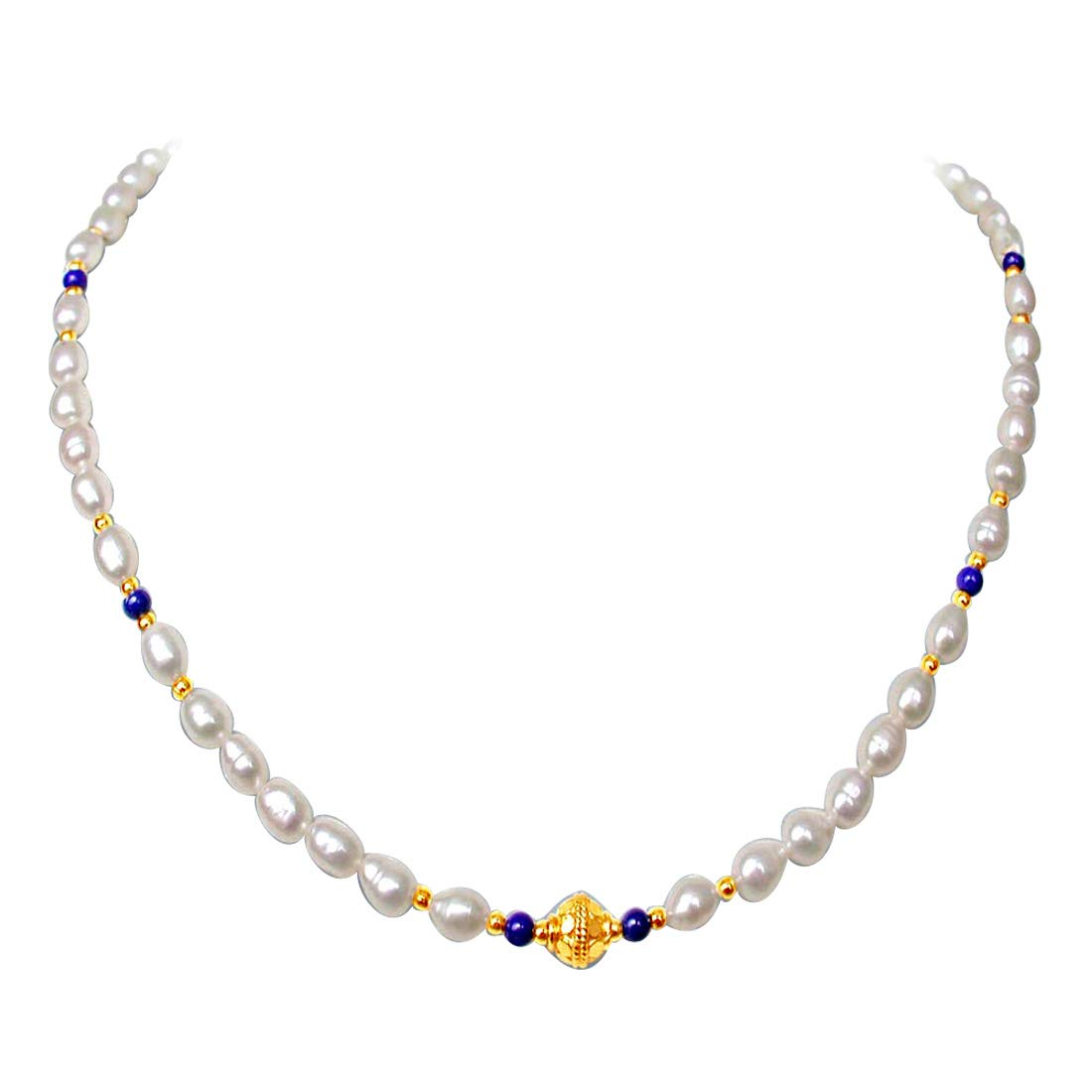 Ethereal - Single Line Real Rice Pearl & Blue Lapiz Beads Necklace for Women (SN238)