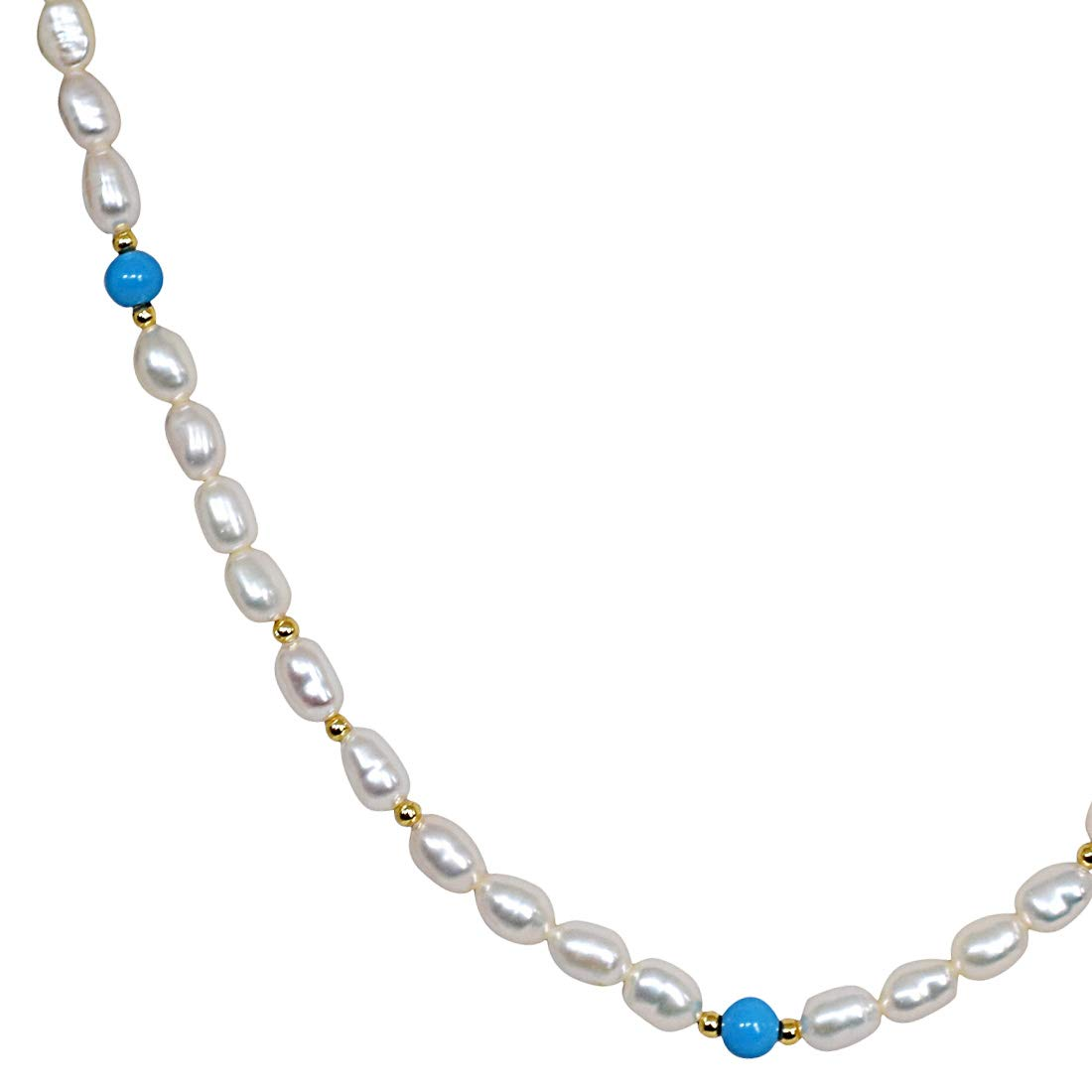 Turquoise Twinkle - Single Line Real Rice Pearl & Turquoise Beads Necklace for Women (SN241)